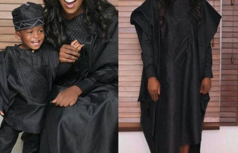 4b6a00a69908 Tiwa Savage And Son Jamil Slay In Black Agbada For King Sunny Ade s Sunny  At 70 Concert