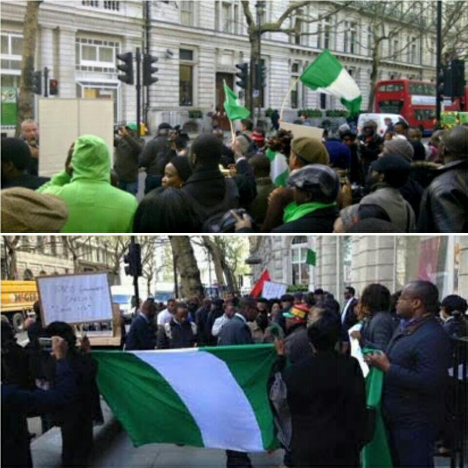 Photos Of UK Based Nigerians At The Nigeria High Commission UK As They Demand To See President Buhari, UK Based Nigerians At The Nigeria High Commission UK Demand To See President Buhari, Nigeria High Commission UK,