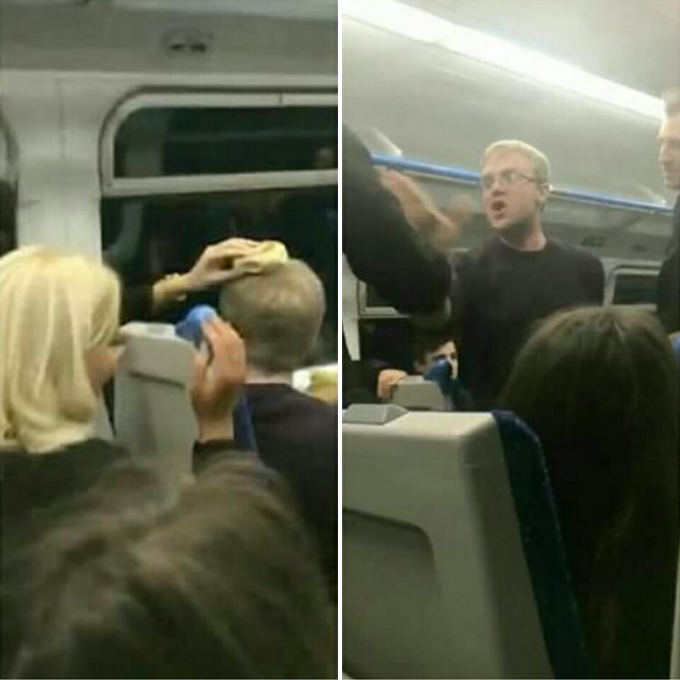 Moment Fight Broke Out On A Train After Woman Put A Bagel On A Man's Head