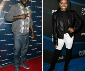 Shaquille O'Neal And Simone Biles At Super Bowl Party