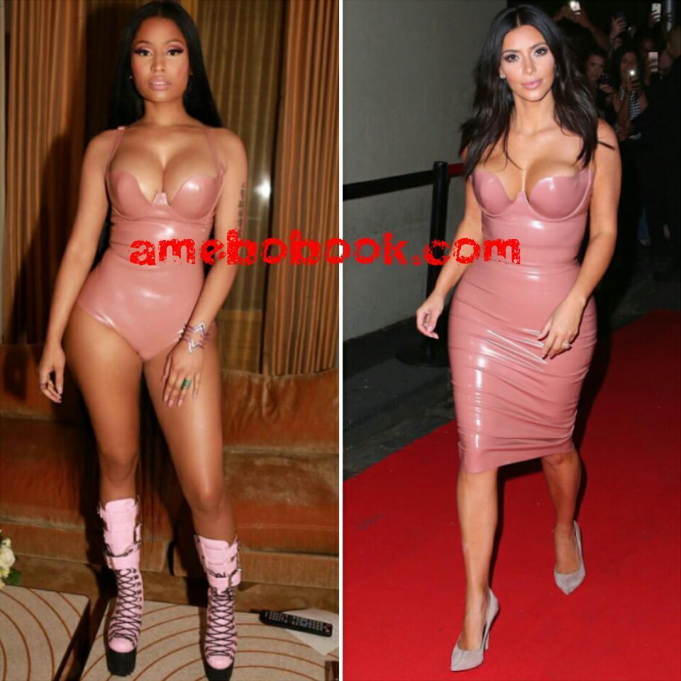 Nicki Minaj Flawlessly Channels Kim Kardashian in Light Pink Latex