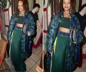 Rihanna Turned Heads When She Flashed Stomach In This Tiny Green Crop Top And Maxi Skirt