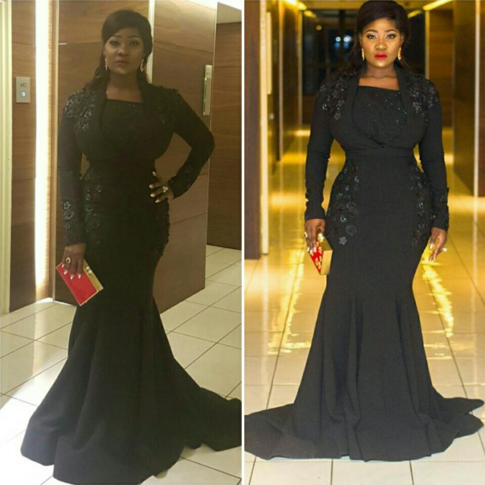 Nollywood Actress Mercy Johnson Slayed In Black Embellished Gown At AMVCA 2017