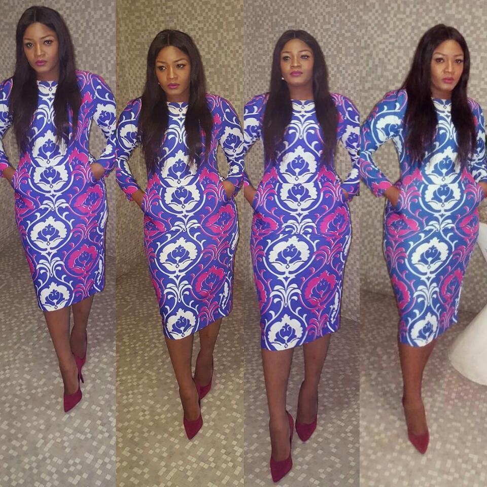 Omotola Dazzled In Figure-Hugging Print Dress