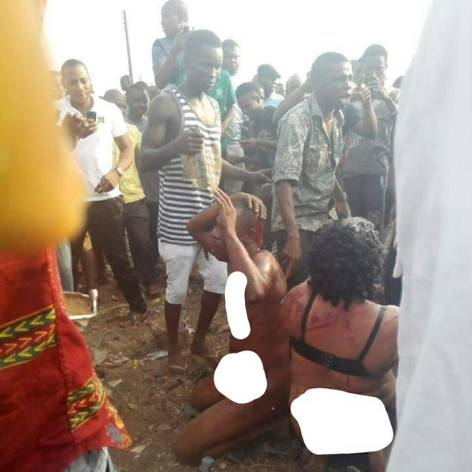 Two Suspected Kidnappers That Police Rescued From An Angry Mob Along Owerri Road, Umuahia After They Were 'Bullied And Molested'