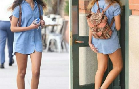 Malia Obama Rocks Cap-sleeved Denim Shirtdress Paired With Converse Chuck Taylors