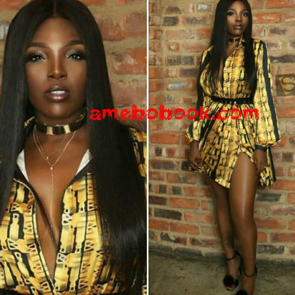 Annie Idibia Slays In Black And Gold Mini Dress With Thigh-high Slit