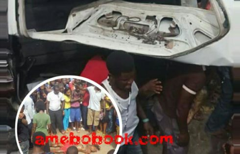 Photos From The Scene Of The Dangote Truck Accident In Ihiala