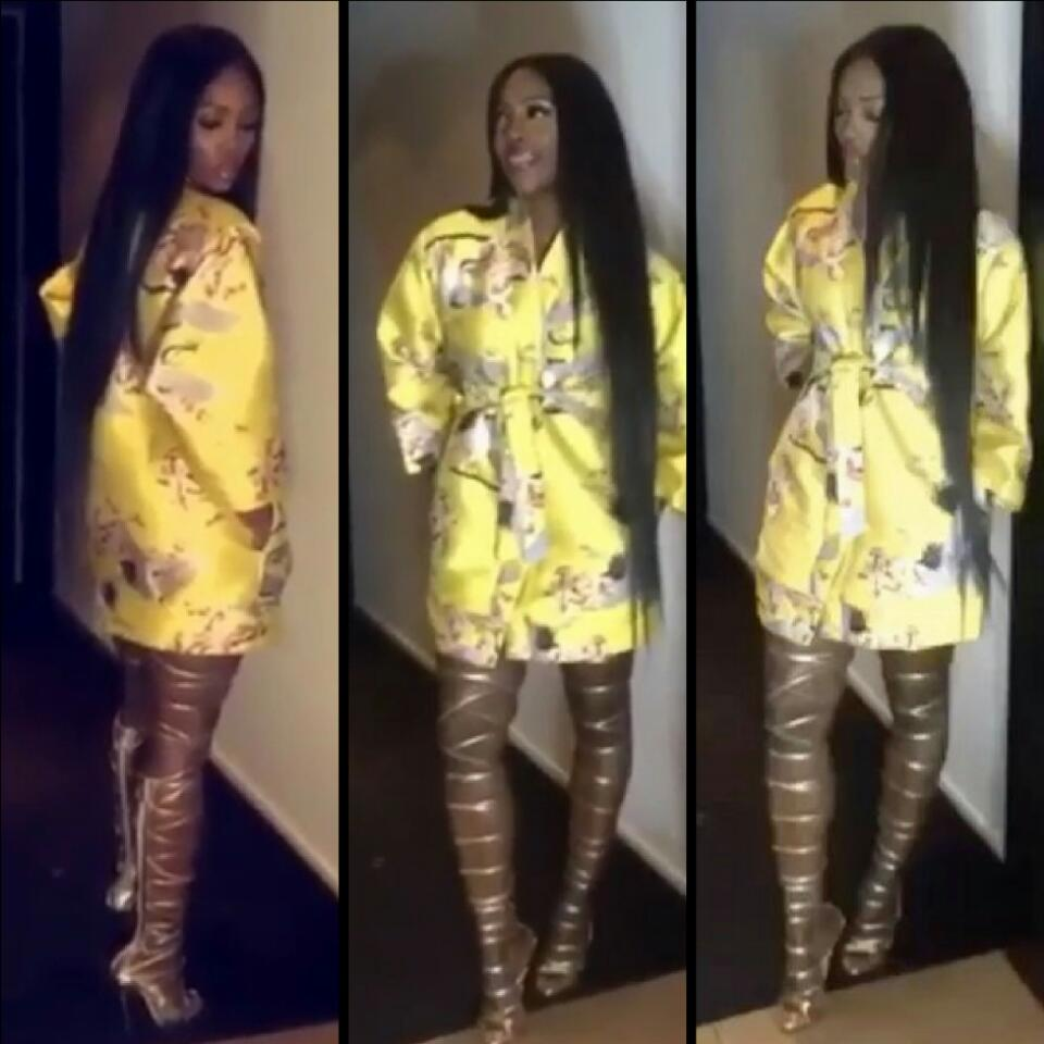 Tiwa Savage Shows How Gorgeous She Is In Kimono And Gold Strappy Knee High Heels