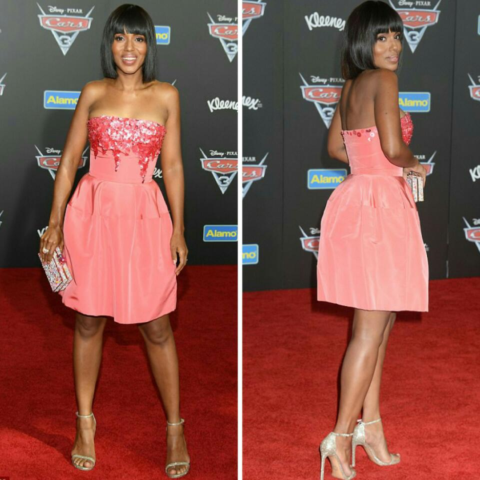 b0459370205d Positively Perfect  Kerry Washington Rocked Sparkly Pink Cocktail Mini  Dress For The Cars 3 Premiere