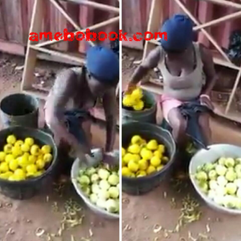 Woman Dyeing Unripe Oranges To Make It Look Ripe