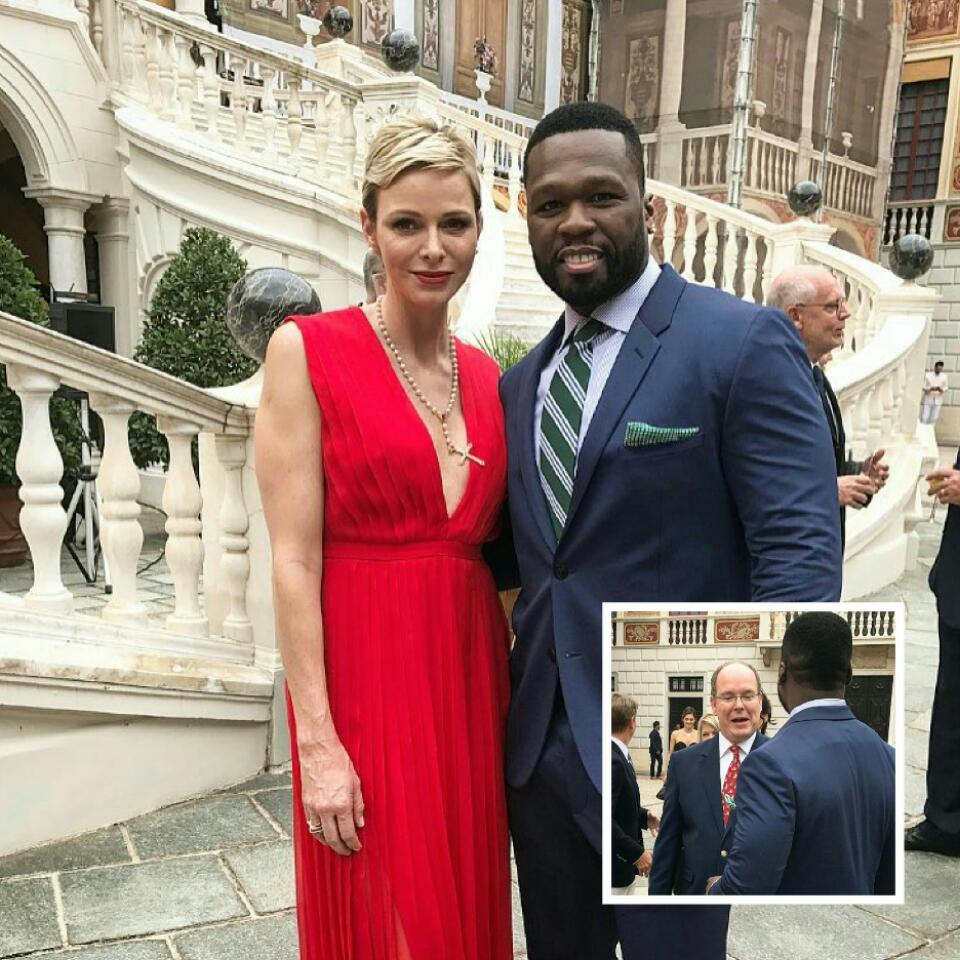 50 Cent Pictured With Prince Albert of Monaco And Princess Charlene of Monaco