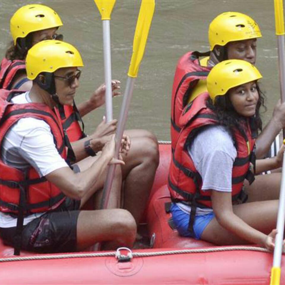 Obama Family River Rafting In Bali