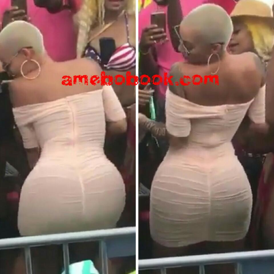 Amber Rose Shaking Her Bum Seductively At 4th Of July Celebration
