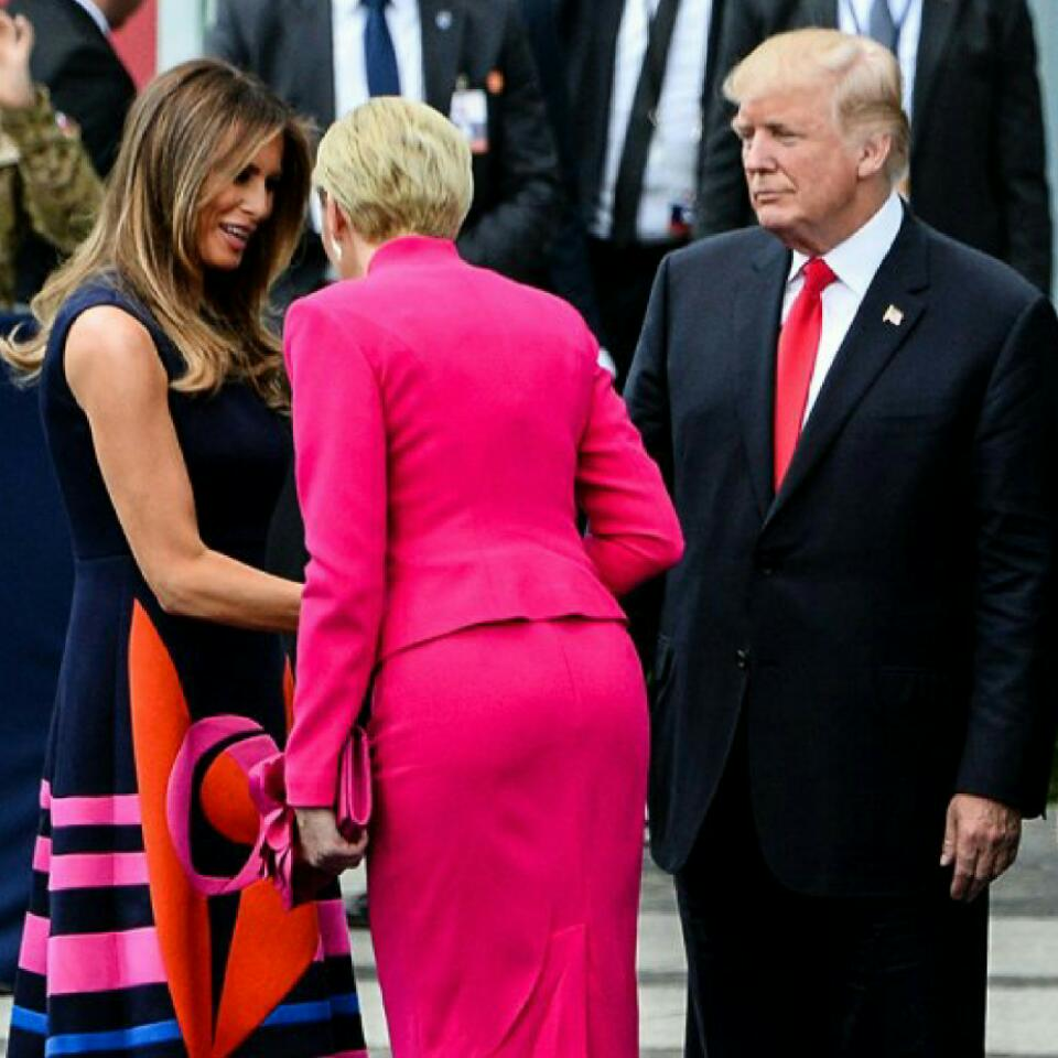 First Lady of Poland Agata Kornhauser-Duda Bypasses Donald Trump's First Handshake Attempt