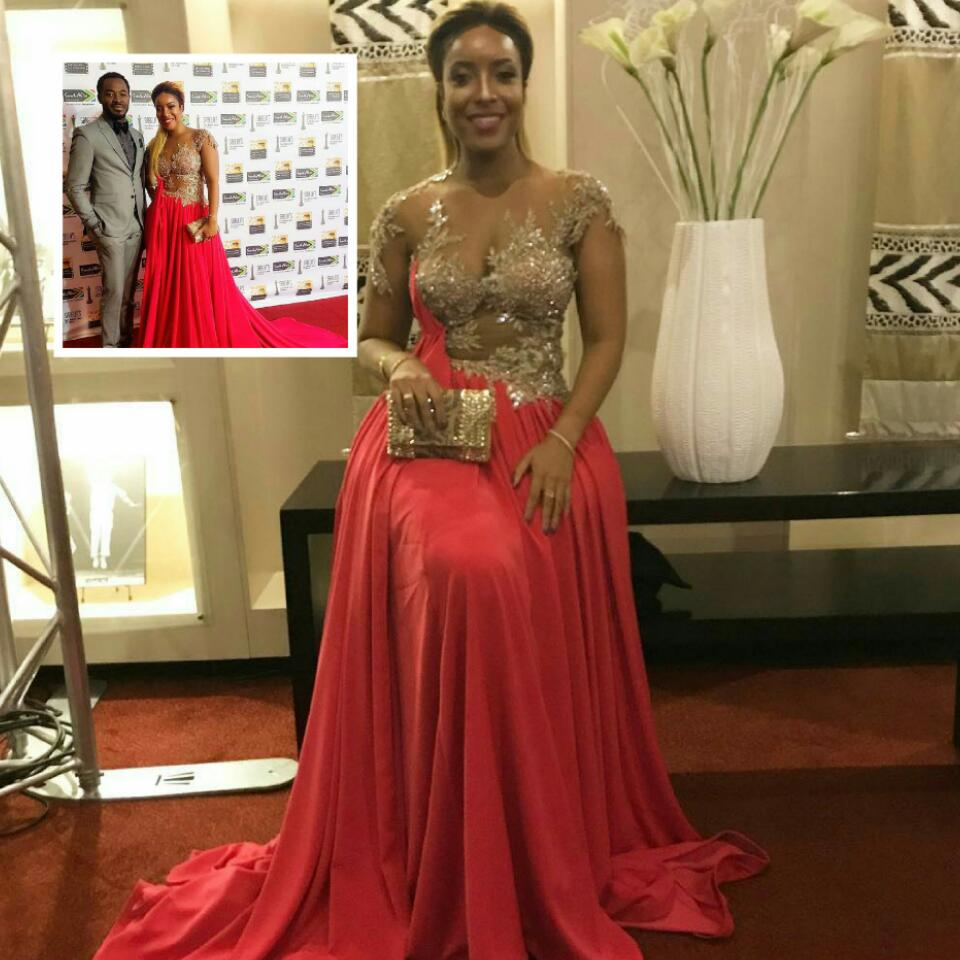 Joselyn Dumas Was Pictured Rocking Lace Appliqué Velveteen Gown At The Simon Mabhunu Sabela Awards 2017 In Durban
