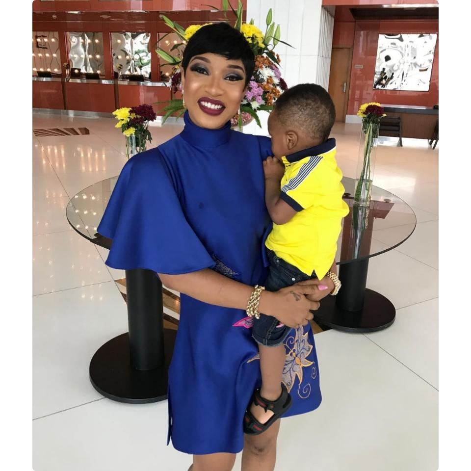 Tonto Dikeh Steps Out Looking Stylish Alongside Her Son