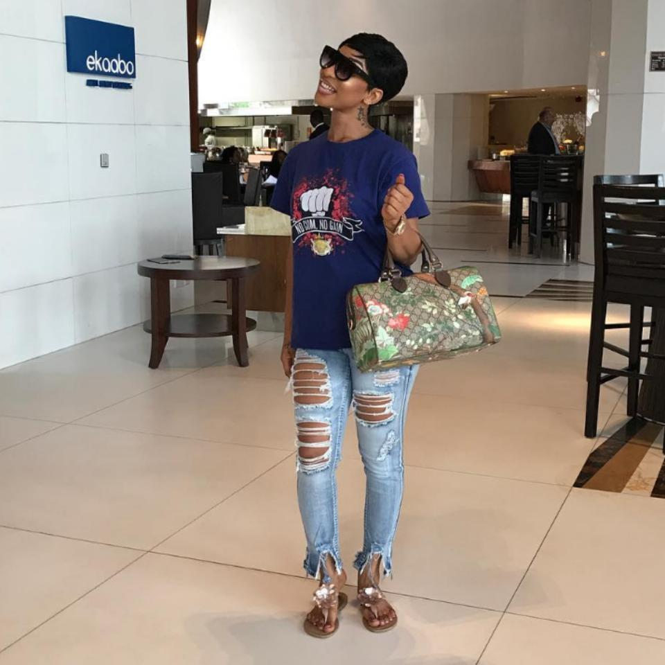 Tonto Dikeh Steps Out In Ripped Jeans