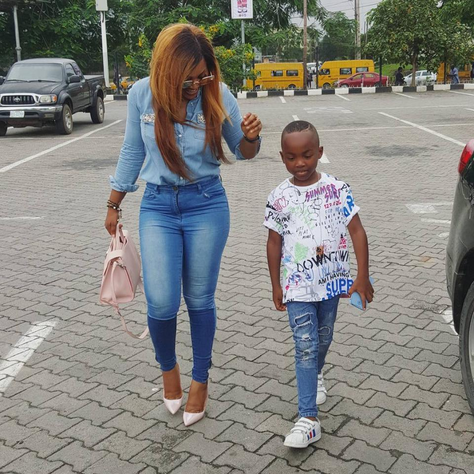 Mercy Aigbe And Son Step Out Looking Stylish