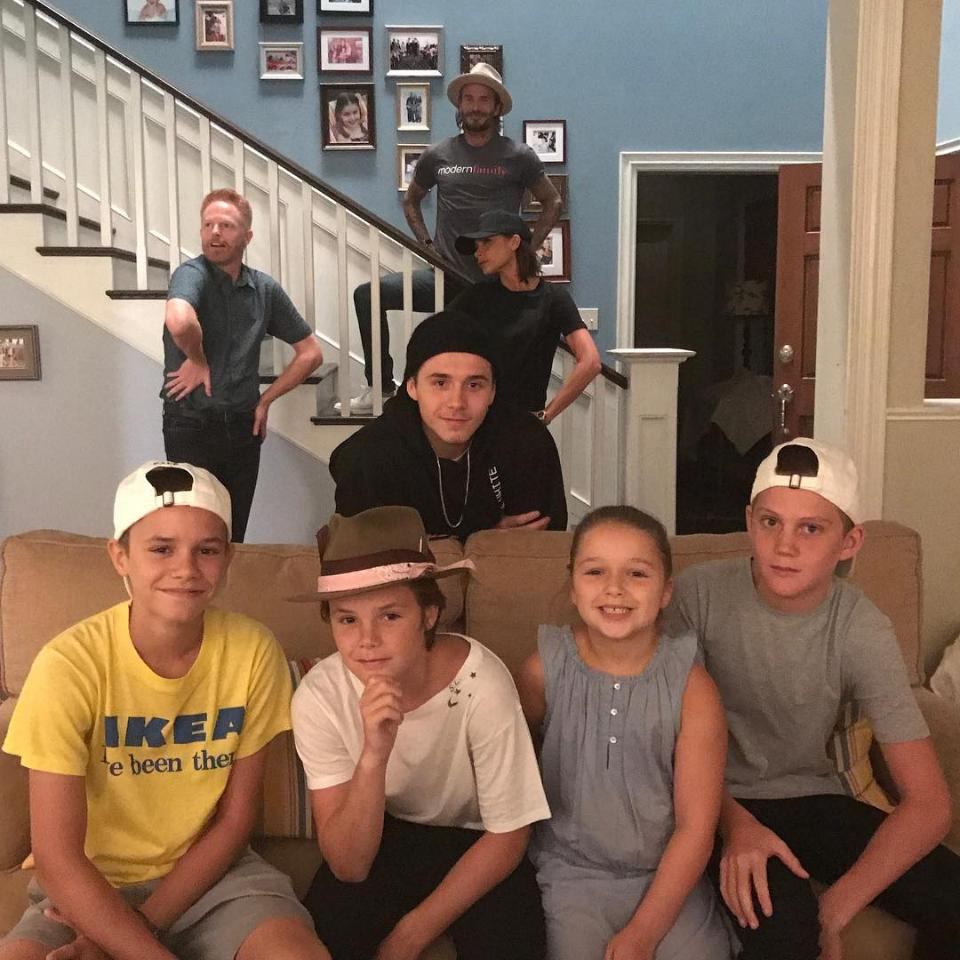 David Beckham And Wife Victoria Alongside Their Kids Crash The Set Of Modern Family