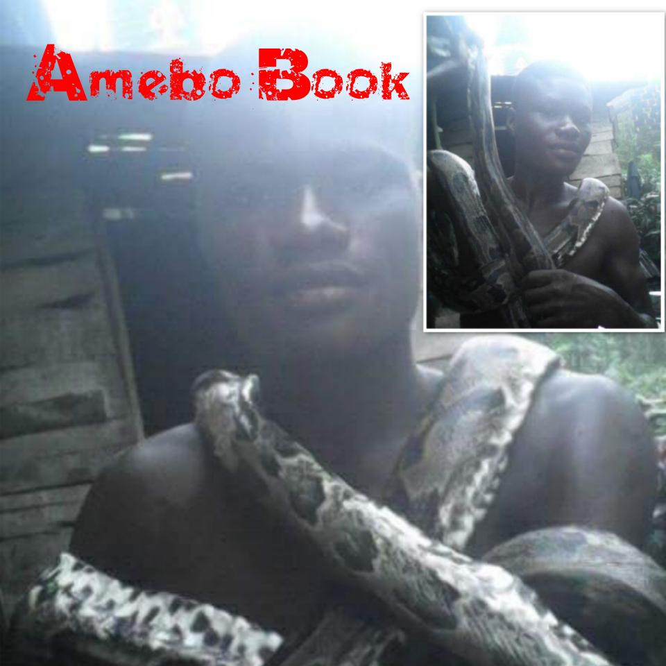 Young Nigerian Man Killed A Big Snake And Displayed It Around His Neck