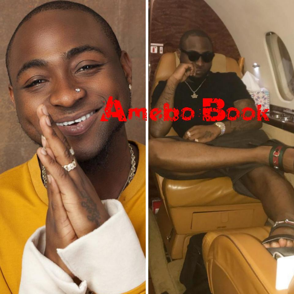 Davido Rocks Gucci Sandals While On Private Jet For Conakry Tour
