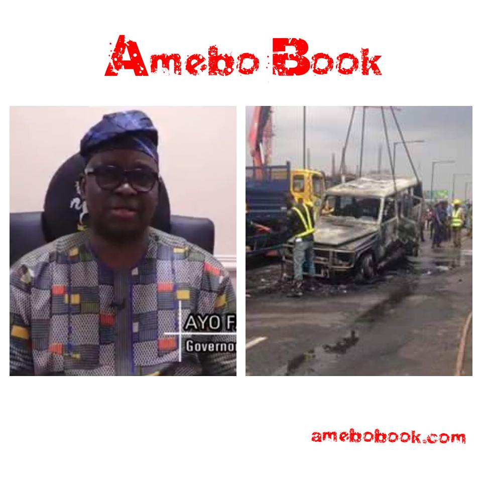 Fayose Escapes Death As Fire Engulfs His Mercedes Benz G-Wagon
