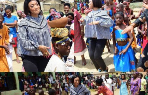 Tonto Dikeh Had An Emotional Day At Lea Primary School Kugbo