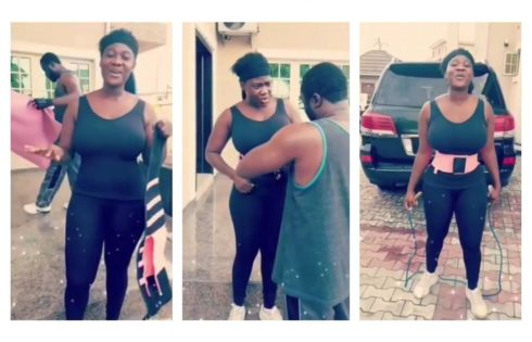 Mercy Johnson Helped By Husband As She Begins Tummy Trimming Exercise