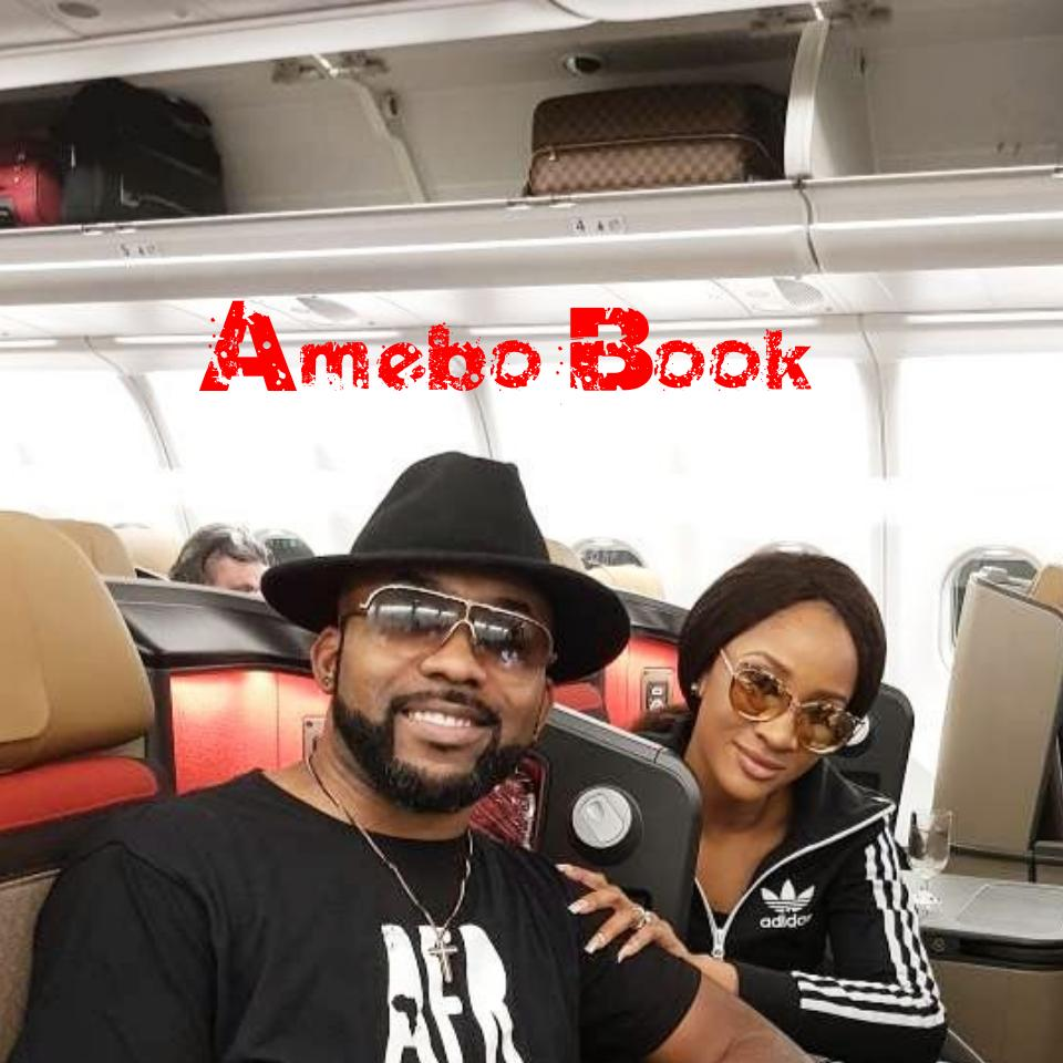 Banky W And Adesua Etomi Pictured On Plane To Cape Town In Preparation For White Wedding