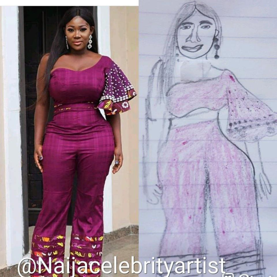 How Mercy Johnson Reacted After Seeing Sketch Of Herself With Hunch Back Hips