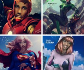 Artist Transforms Annie Idibia And Beverly Osu With Di'ja Into Superheroes In New Painting