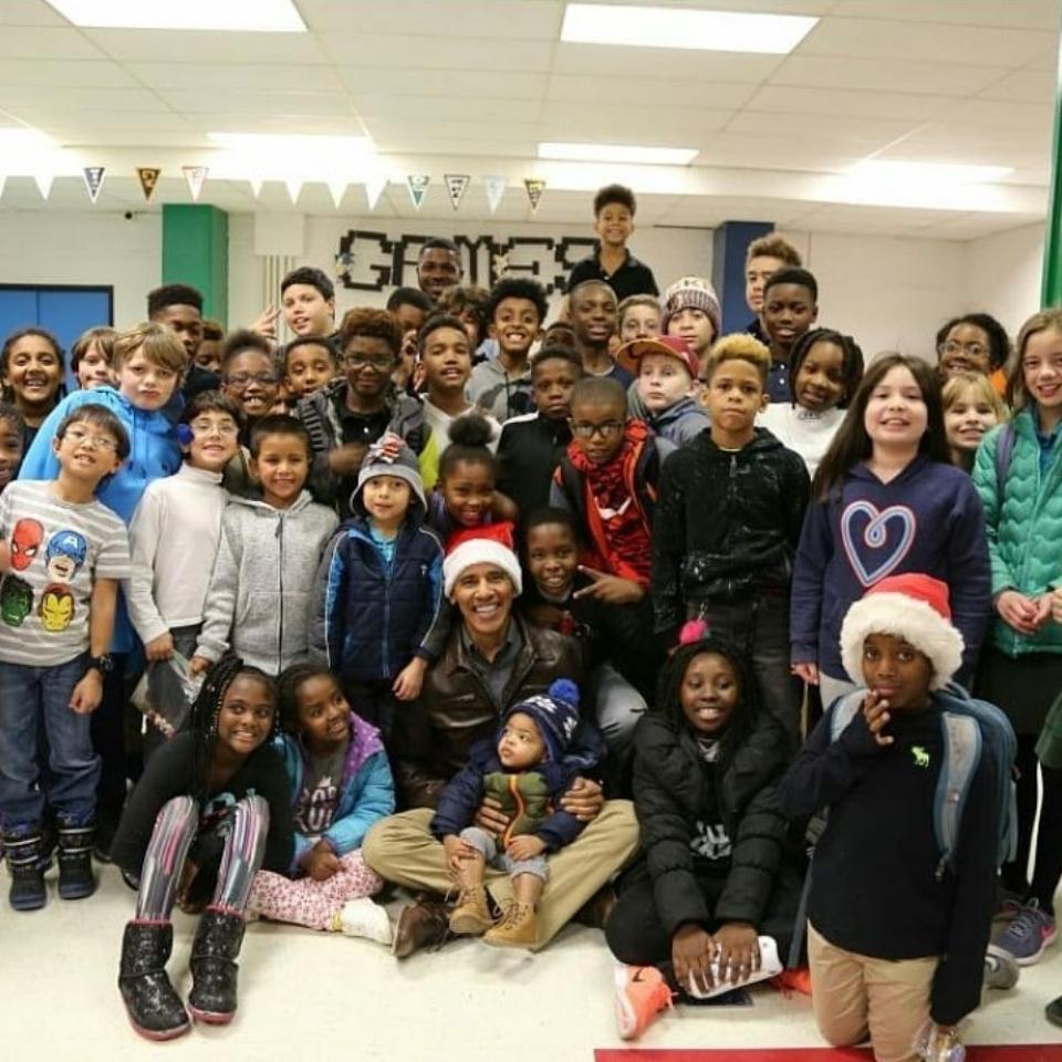 Barack Obama Dressed Up As Santa During Visit To D.C. Boys & Girls Club