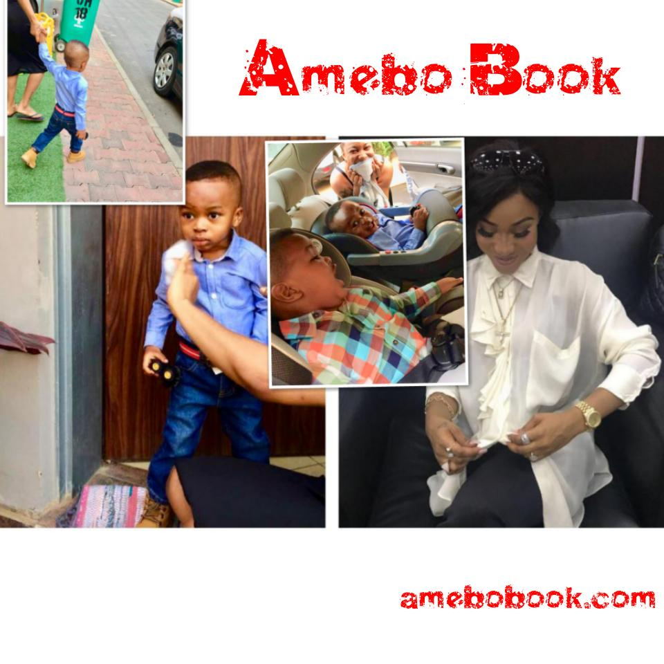 Tonto Dikeh Goes Emotional And Tearful As Son Resumes First Day Of School