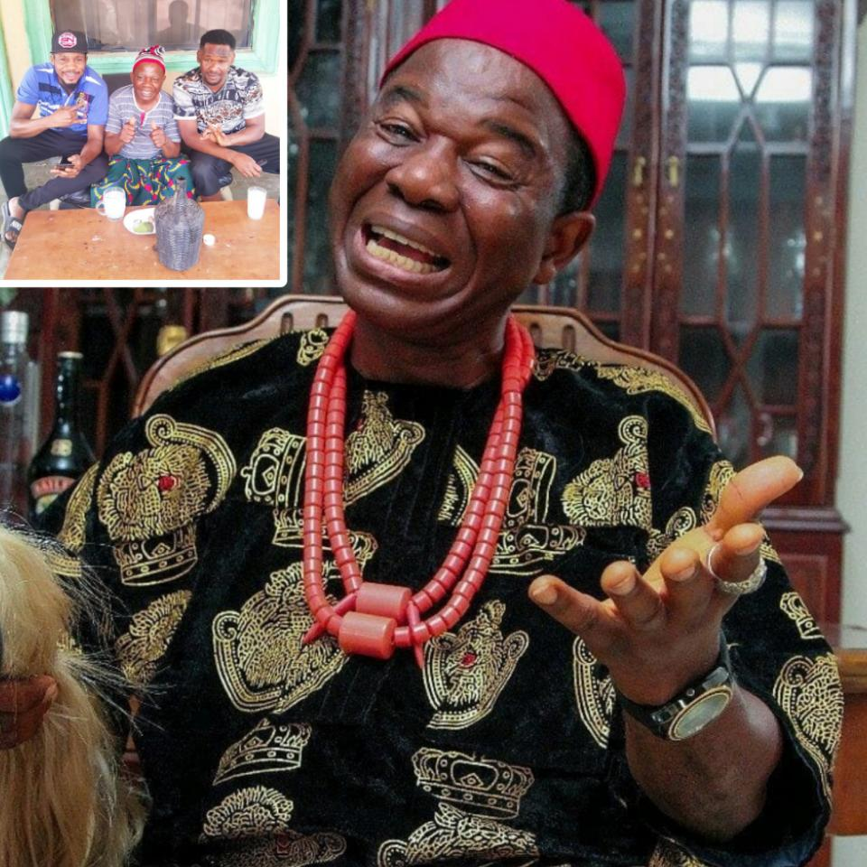 Chiwetalu Agu Pictured Drinking Palm Wine On Set With Junior Pope