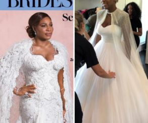 Serena Williams Models Her Wedding Gown For February/March Edition Of Brides Magazine