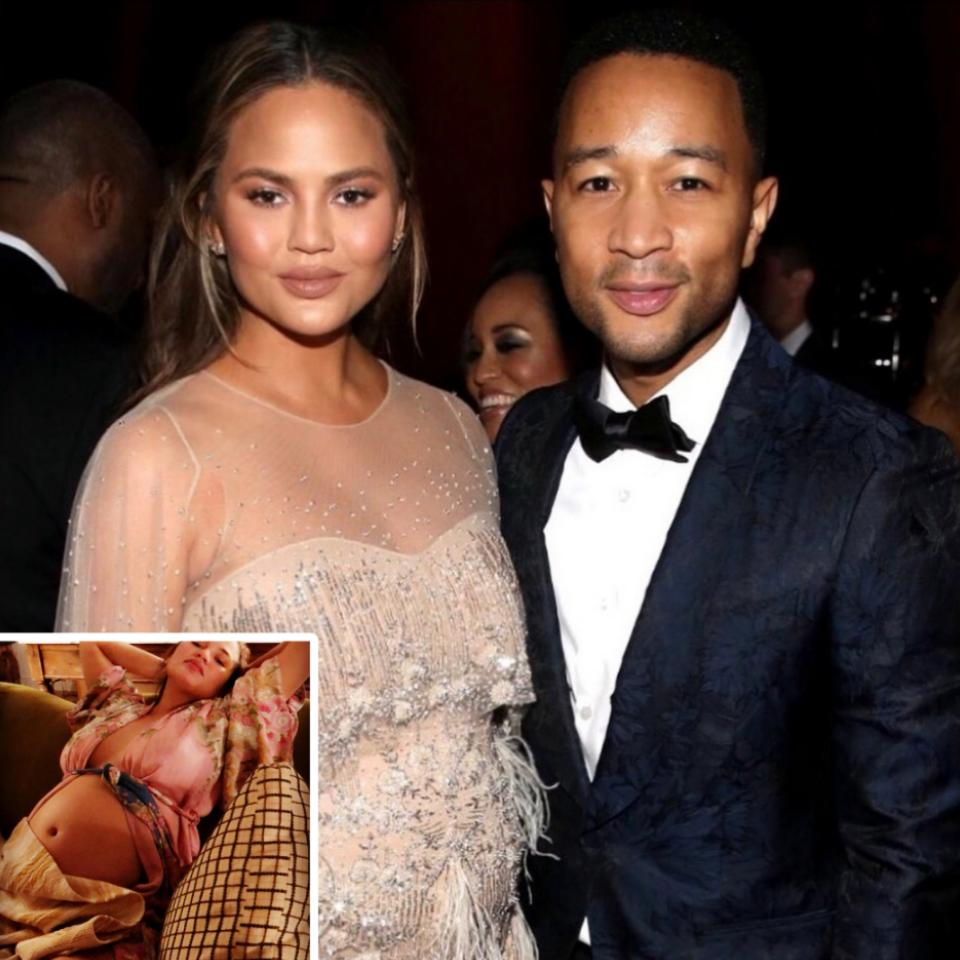 Chrissy Teigen Shows Off Bare Baby Bump