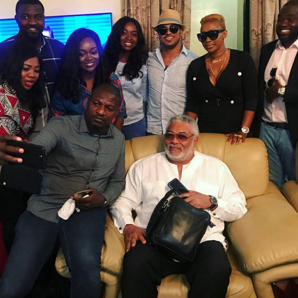 Van Vicker And Jackie Appiah With John Dumelo Pictured With Jerry Rawlings