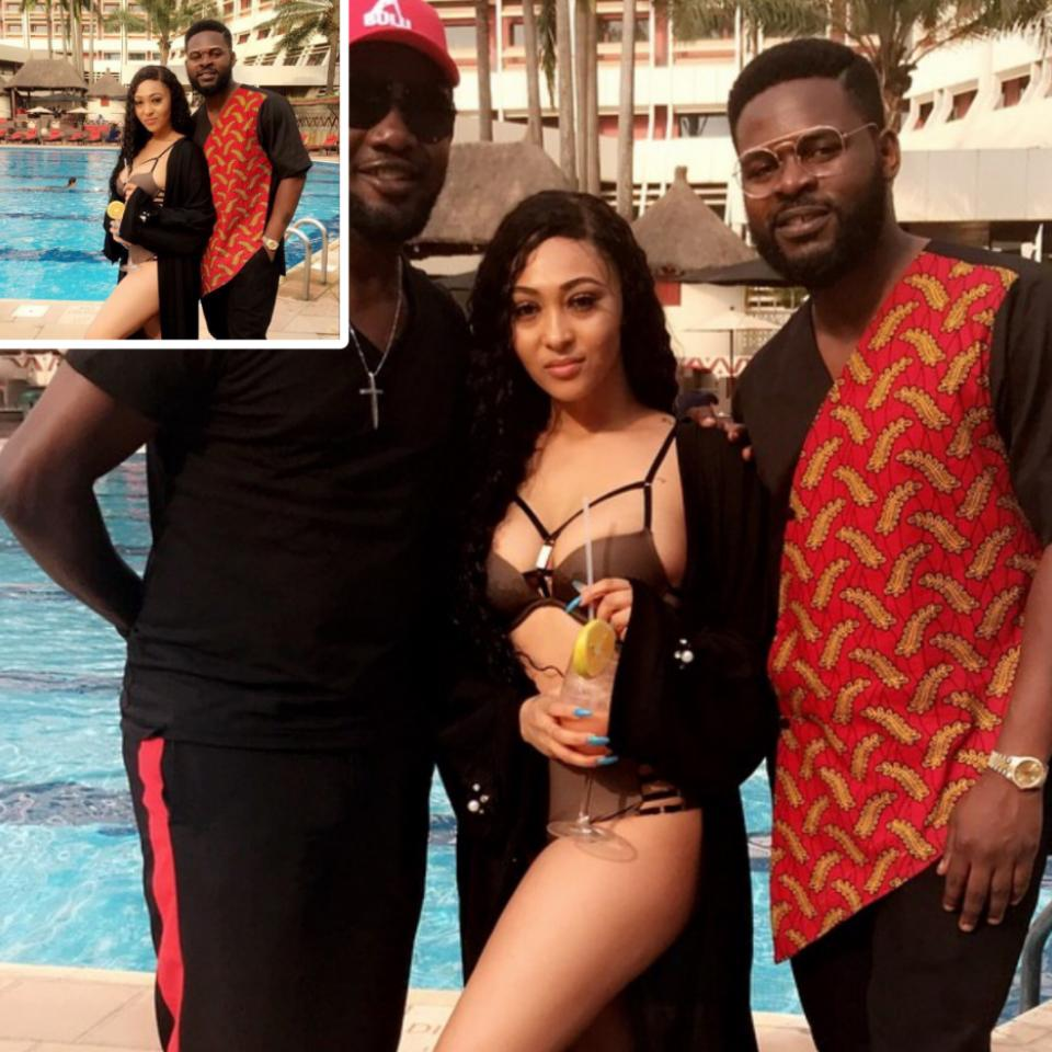 AY Comedian And Falz Pictured With Rosy Meurer On Set Yoruba Demons