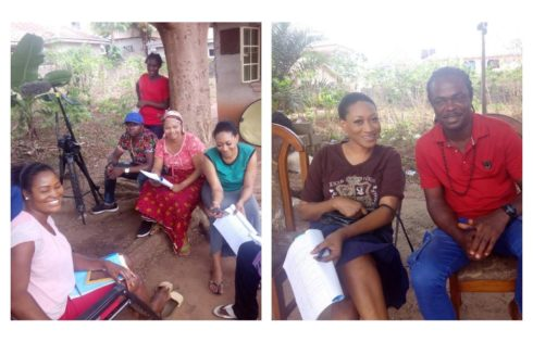 Oge Okoye And Chizzy Alichi On Set Of The Messenger