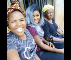 Patience Ozokwor Poses With Chizzy Alichi On Set BACK FROM LAGOS
