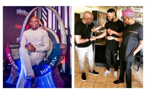 Tony Elumelu Pictured Checking Out Flavour's Tattoos