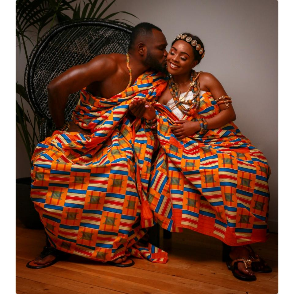 Prince David Osei And Ava Enchill Rock Stunning Kente Traditional Cloth To Mark Ghana's 61st Independence Celebrations
