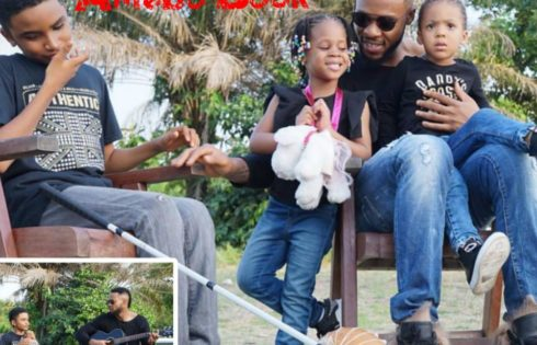 Flavour Pictured Chilling With His Daughters And Blind Liberian Singer