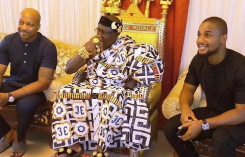 IK Ogbonna And Alex Ekubo Pictured With Chief Nanan Kouakou Kouao Me Patient III