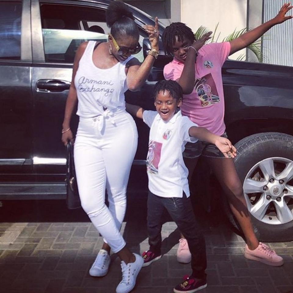 Annie Idibia Looking Stylish While Out With Daughters Isabella And Olivia