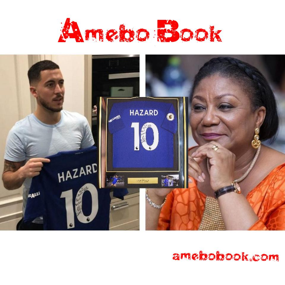 Rebecca Akufo-Addo Receives Signed Chelsea Replica Jersey From Eden Hazard