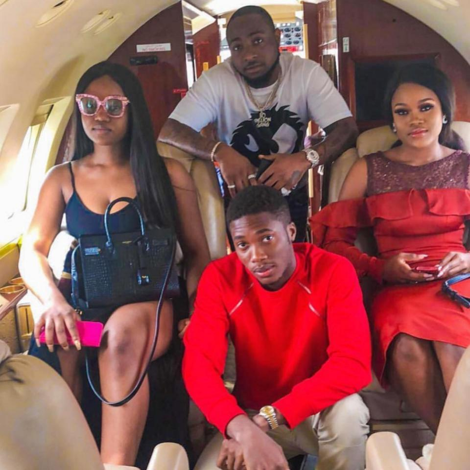 Davido And Chioma Pose With Cee-C On Private Jet