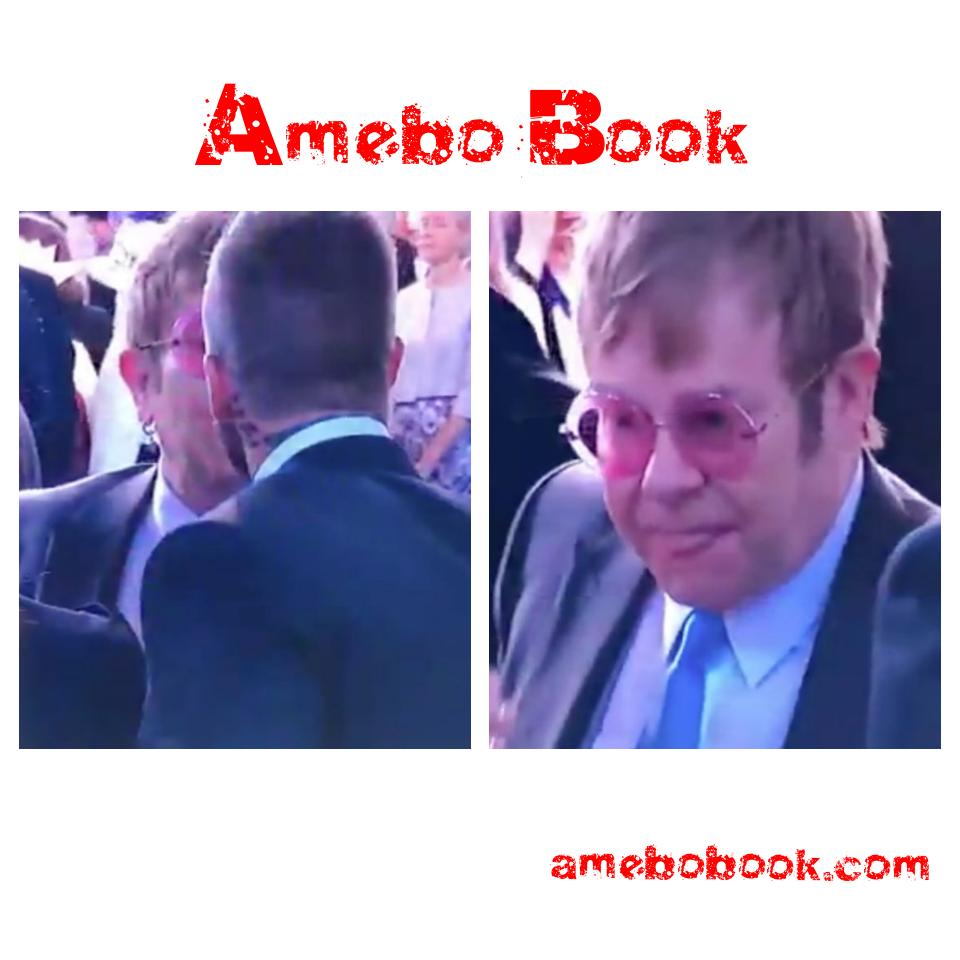 Elton John Licks His Lips After Kissing David Beckham On The Mouth