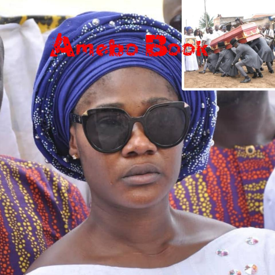Mercy Johnson Weeps As She Buries Her Mother